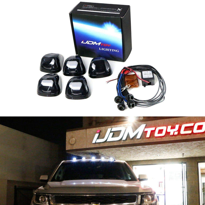 (5) Amber or White LED Black Smoked Cab Roof Marker Lights w/ Wireless Remote Control Strobe Flash Blink Module Box-iJDMTOY