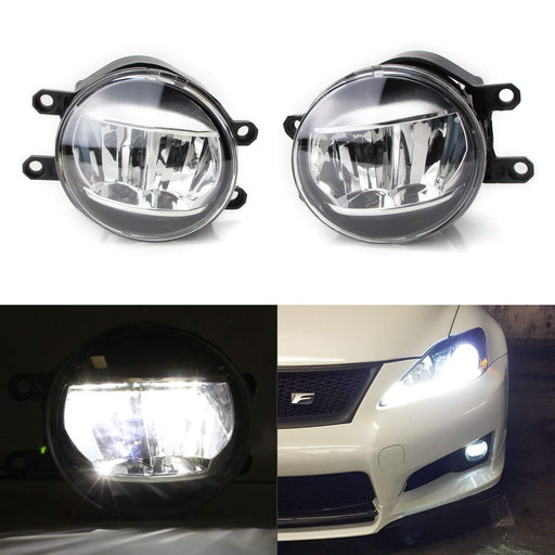LH RH OEM Spec Xenon White LED Fog Lights For Lexus or Toyota as Upgrade or Replacement, Powered by (2) Philips Luxeon LED Emitters-iJDMTOY