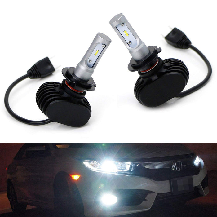 LED Headlight Bulbs, 50W 6000K Xenon White Extremely Bright LED Headlight, Driving Lamp, Fog Light Upgrade Bulbs, Powered By CSP Chipsets-iJDMTOY