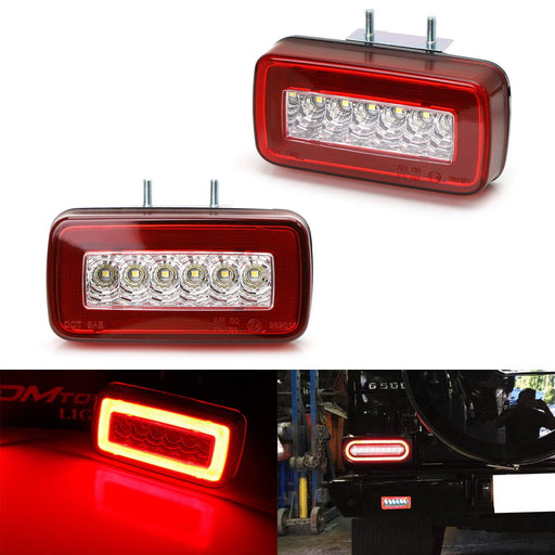 Red or Smoked Lens 3-In-1 LED Rear Fog Backup Light Kit For 1986-2018 Mercedes Benz W463 G-Class G500 G550 G55 G63 AMG, Functions as Rear Fog Driving Brake & Reverse Lights-iJDMTOY