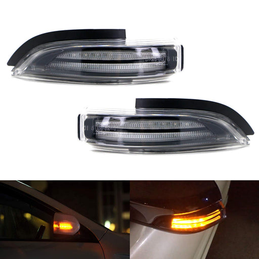 JDM Clear Lens Amber Sequential Flash LED Side Mirror Turn Signal Blinker Light Assembly For Toyota Prius C, Venza, Avalon, Corolla iM, etc-iJDMTOY
