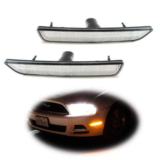 (2) Front Side Marker Lamps with 27-SMD Amber or White LED Lights For 2010-2014 Ford Mustang Front Bumper-iJDMTOY
