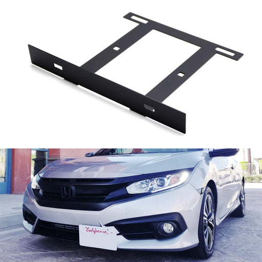 Type-R Style Front Bumper License Plate Side Relocation Mounting Bracket For 2016-up 10th Gen Honda Civic Sedan/Coupe/Hatchback-iJDMTOY