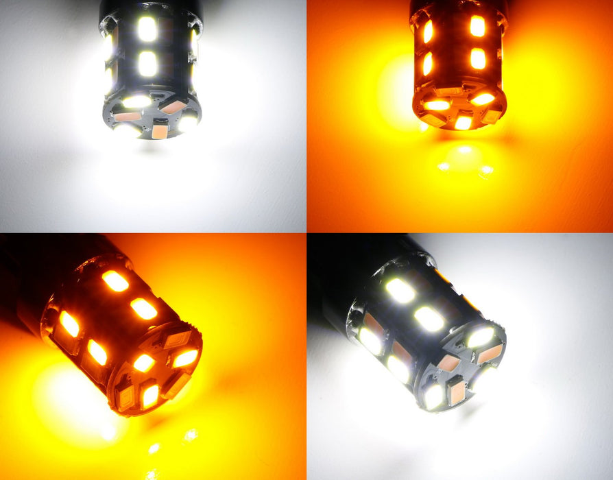 26-SMD Diodes White/Amber Dual Color Switchback 1157 or 7443 LED Bulbs For Front Turn Signal Lamps-iJDMTOY