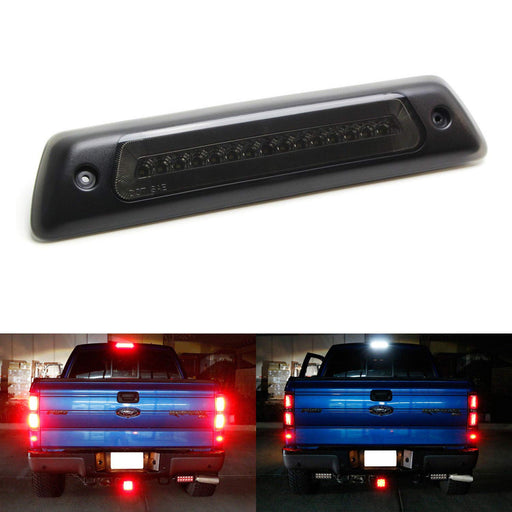 Smoked Lens LED High Mount Tail Light Assembly For 09-14 Ford F150 & Raptor, w/ Red Halo LED Ring as Tail Lamp & White LED as Reverse/Clearance Lamp-iJDMTOY