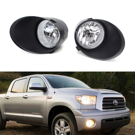 Complete Set Fog Lights w/ H10 Halogen Bulbs, Foglamp Garnish Covers, On/Off Switch and Wiring Harness For 2007-2013 Toyota Tundra-iJDMTOY