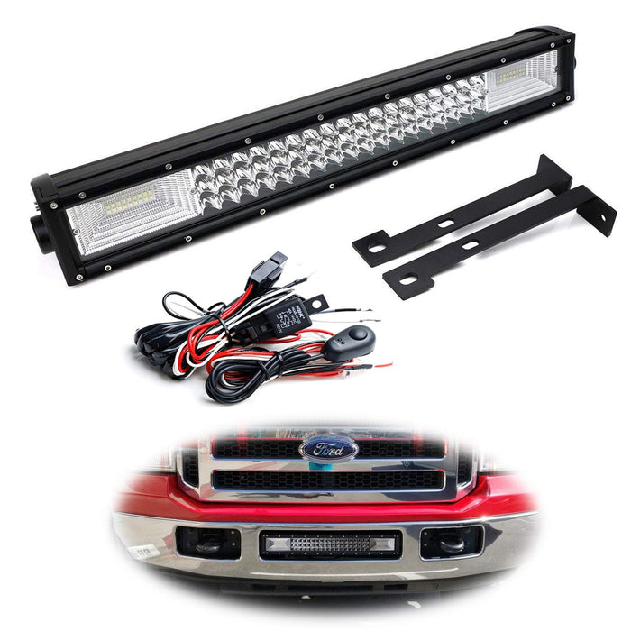 "Lower Grille Mount 21"" LED Light Bar Kit For 1999-07 Ford F250 F350 F450, Includes (1) Triple-Row High Power LED Lightbar, Lower Bumper Opening Mounting Brackets & Switch Wiring Kit-iJDMTOY"