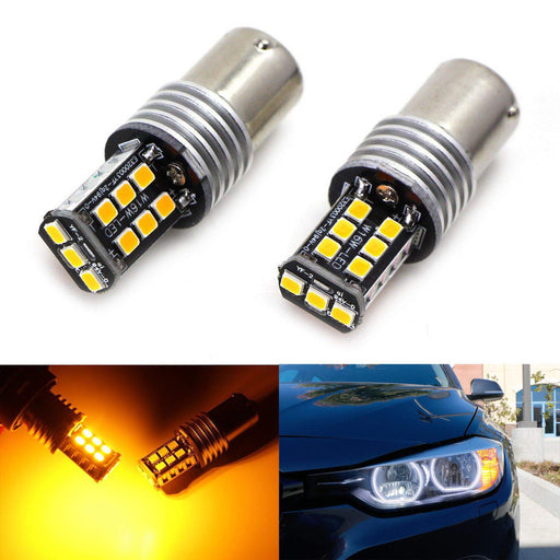 Error Free Amber 7507 PY21W LED Bulbs Fit BMW 1 2 3 4 Series X1 X3 X4 X5 Turn Signal Lights-iJDMTOY
