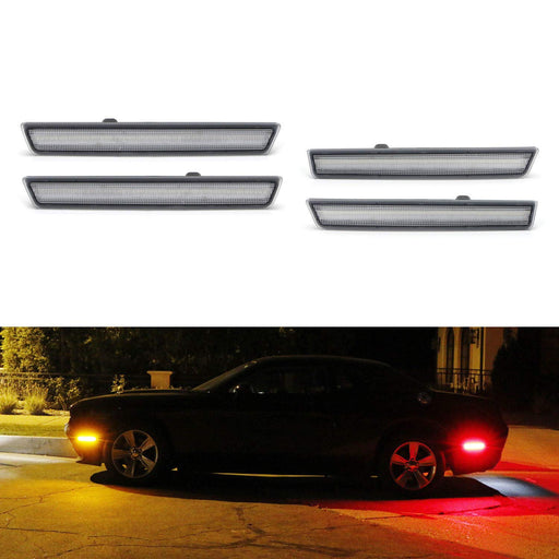 Amber/Red Full LED Side Marker Light Kit For 2015-18 Dodge Challenger, Powered by Total 180-SMD LED, Replace OEM Sidemarker Lamps-iJDMTOY