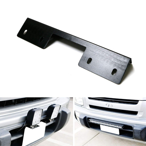 Miniature Front Bumper License Plate Mount Bracket Holder For Off-Road Lights, LED Work Lamps, LED Lighting Bars, etc (Black Finish)-iJDMTOY