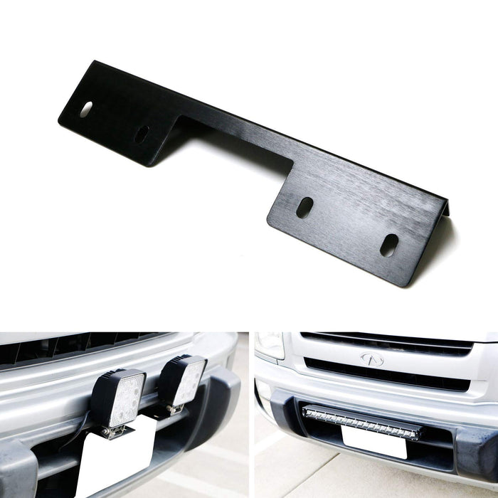 AUXTINGS 15 inch Universal License Number Plate Frame Mounting Bracket Holder for Offroad Driving LED Light Bar and Work Lamps Black Truck 4X4