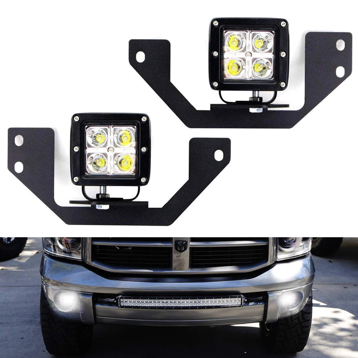 LED Pod Light Fog Lamp Kit For Dodge RAM 1500 2500 3500 & Durango, Includes (2) 20W High Power CREE LED Cubes, Foglight Location Mounting Brackets & Wiring/Adapter Harnesses-iJDMTOY