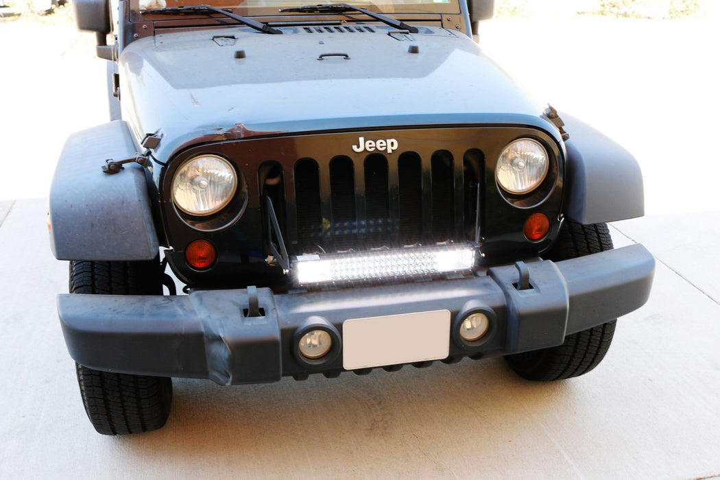 "Front Grille Mount 21"" LED Light Bar Kit For 2007-17 Jeep Wrangler JK, Includes (1) Triple-Row High Power LED Lightbar, Grill Front Mounting Brackets & On/Off Switch Wiring Kit-iJDMTOY"