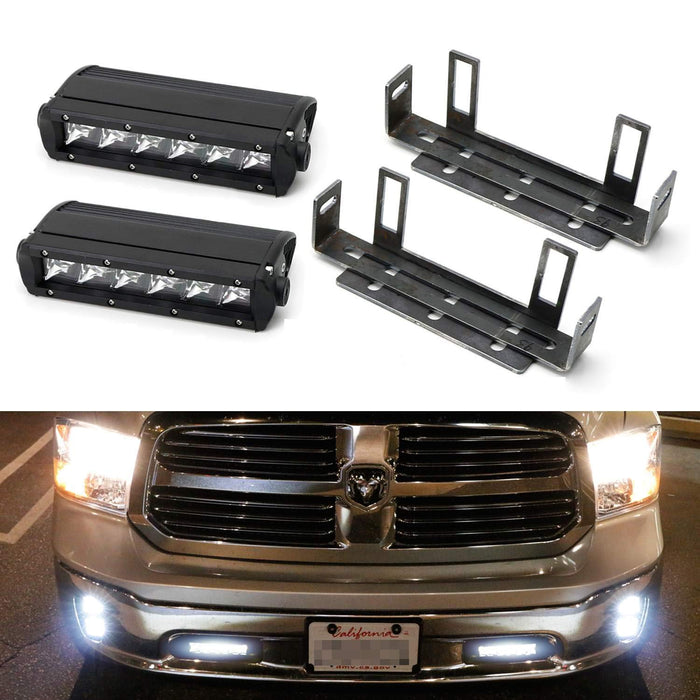 Lower Bumper Led Light Bar Kit For 2011 18 Dodge Ram 1500 2 30w High Power Cree Led Lightbars Tow Hook Opening Area Brackets Wiring Switch