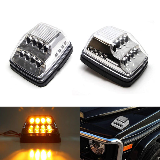 Clear or Smoked Lens Amber LED Front Turn Signal Lamps For 90-up Mercedes W463 G-Class G500 G550 G600 G55 G63 AMG w/ White LED Position Lights-iJDMTOY