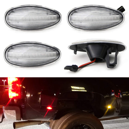 Amber/Red Full LED Trunk Bed Marker Lights Set For 2008-14 Chevy GMC 2500HD 3500HD Dually Truck Double Wheel Side Fenders, Powered by Total 60 LED-iJDMTOY