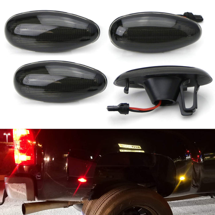 4Pcs Smoked Lens Dually Bed Fender LED Side Marker Light Lamp for Chevy Silverado GMC Sierra 2500HD 3500HD 01-14