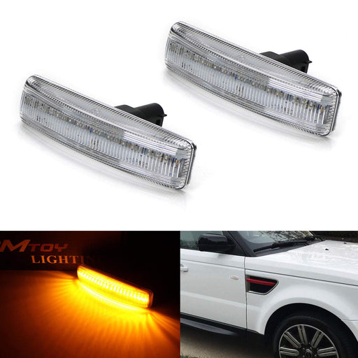 Amber Full LED Front Side Marker Light Kit For 2006-13 Range Rover Sport, 2008-09 LR2 Freelander, 2005-15 LR3 LR4 Discovery, Powered by 30-SMD LED, Replace OEM Sidemarker Lamps-iJDMTOY