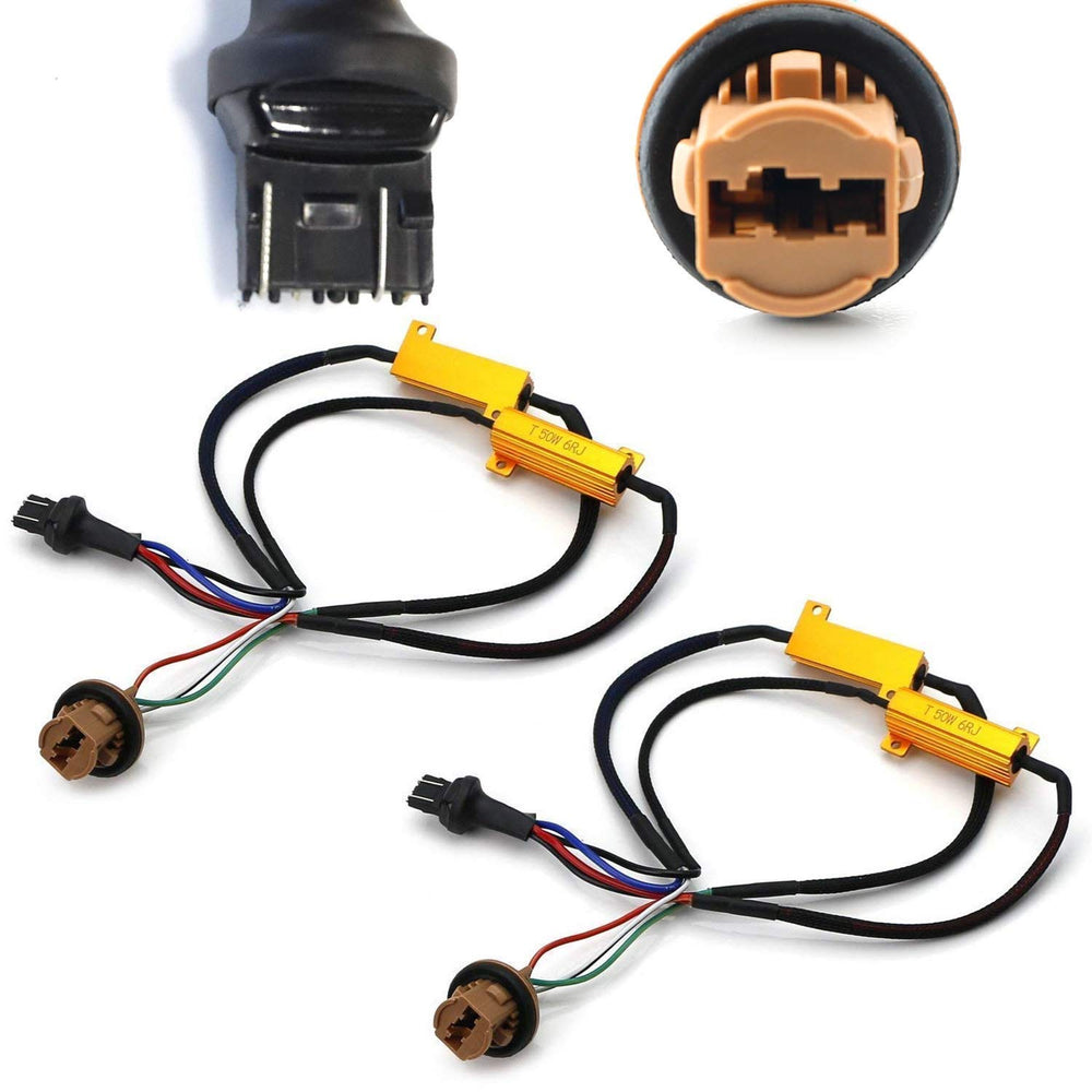 Hyper Flash/Bulb Out Error Fix Wiring Adapters for 7443 7444 T20 LED Bulbs Turn Signal or Tail Brake Lights-iJDMTOY