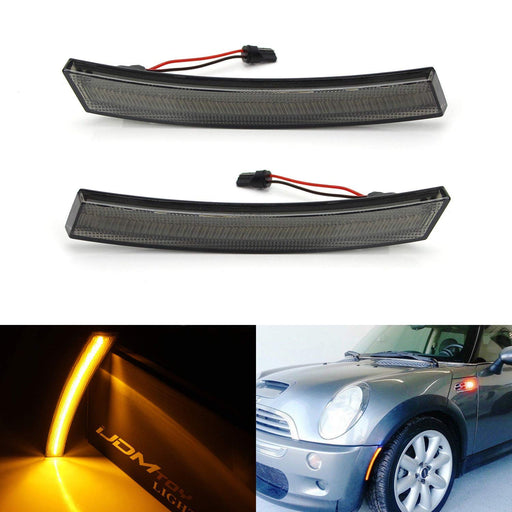 (2) Smoked Lens Amber LED Front Sidemarker Lamps For 02-08 MINI Cooper R50 R52 R53 1st Gen-iJDMTOY