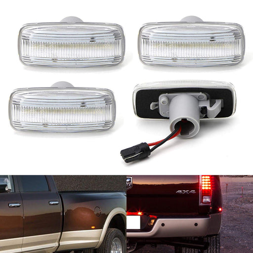 Amber/Red Full LED Trunk Bed Marker Lights Set For 2010-18 Dodge RAM 2500HD 3500HD Truck Double Wheel Side Fenders, Powered by Total 48 LED-iJDMTOY