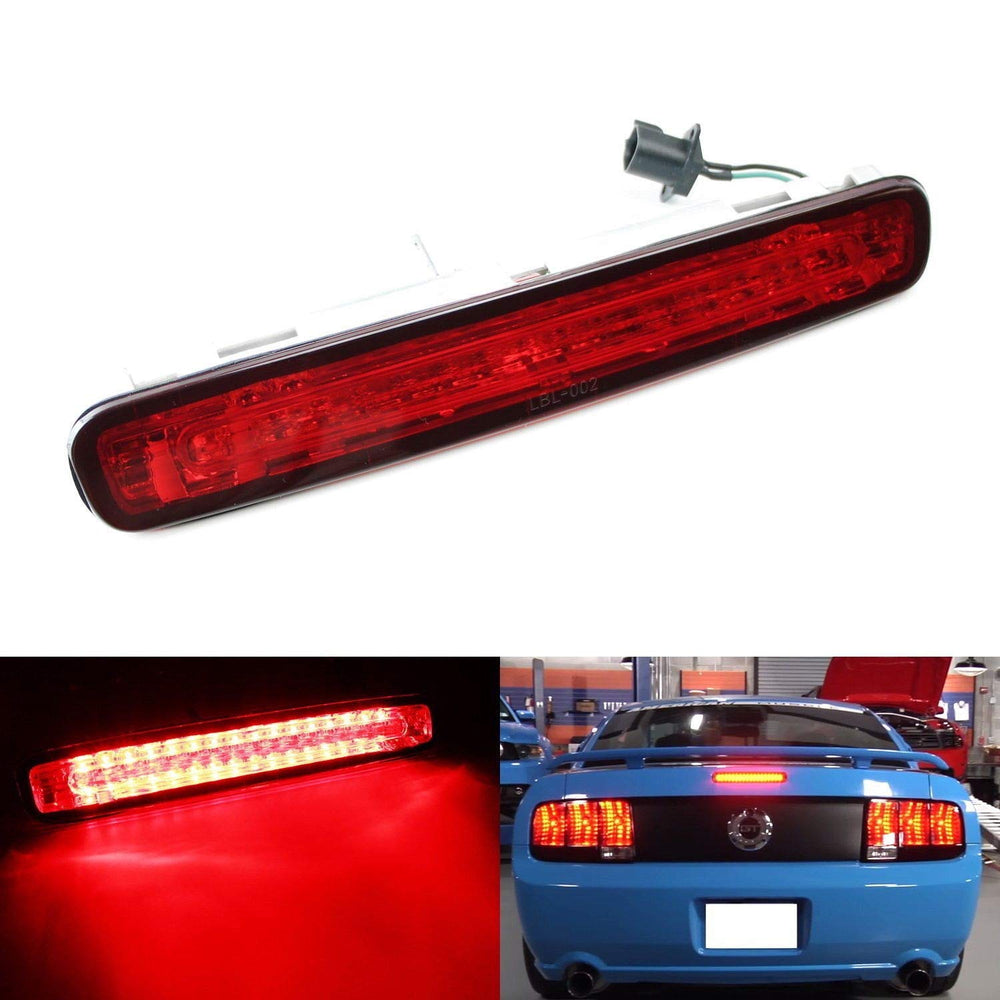 Red or Smoked Lens LED 3rd Brake Light For 2005-2009 Ford Mustang, Powered by 16 Super Bright Red LED Emitters-iJDMTOY