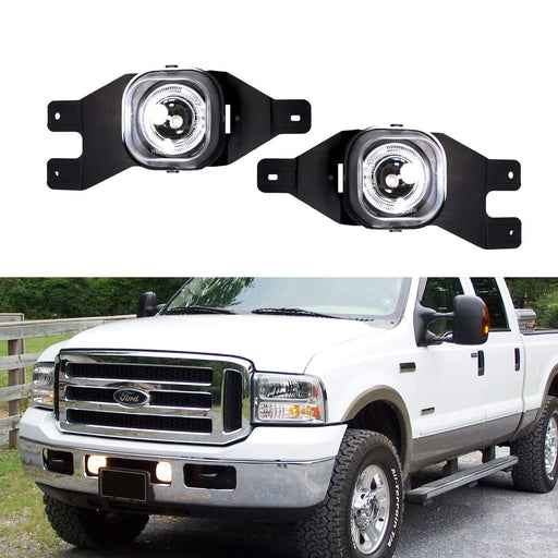 (2) Projector Fog Lights w/ LED Halo Rings For 1999-2004 Ford F-250, 2001-2004 Ford F-350 F-450 F-550 Super Duty & Excursion-iJDMTOY