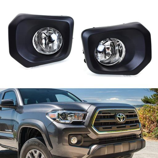 Clear Lens Fog Lights Foglamp Kit with Halogen Bulbs, Bezel Covers, On/Off Switch & Wiring Relay For 2016-up Toyota Tacoma-iJDMTOY