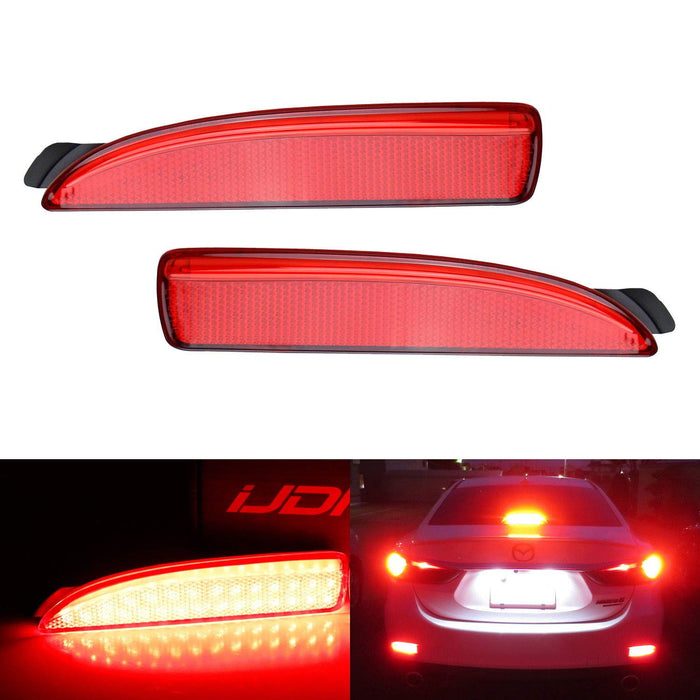 Red or Smoked Lens 90-SMD LED Bumper Reflector Lights For Mazda 3 5 6, Function as Tail, Brake & Rear Fog Lamps-iJDMTOY