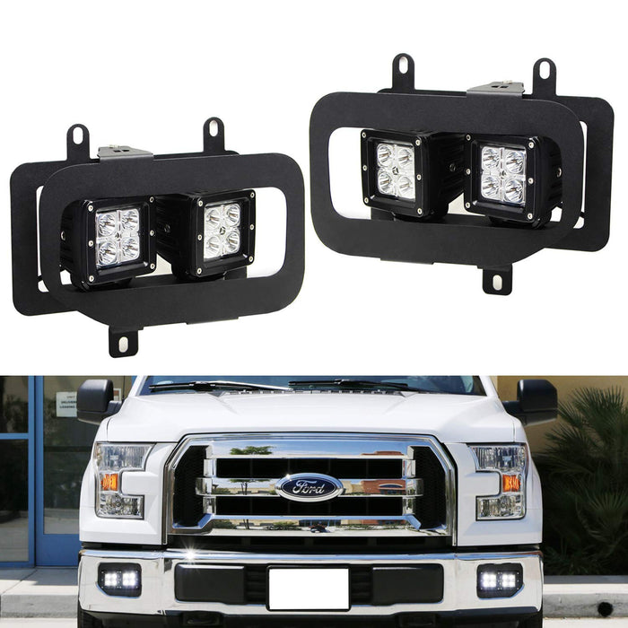 Dual LED Pod Light Fog Lamp Kit For 2015-17 Ford F150, Includes (4) 20W High Power CREE LED Cubes, Foglight Location Mounting Brackets & Wiring/Adapter Harnesses-iJDMTOY