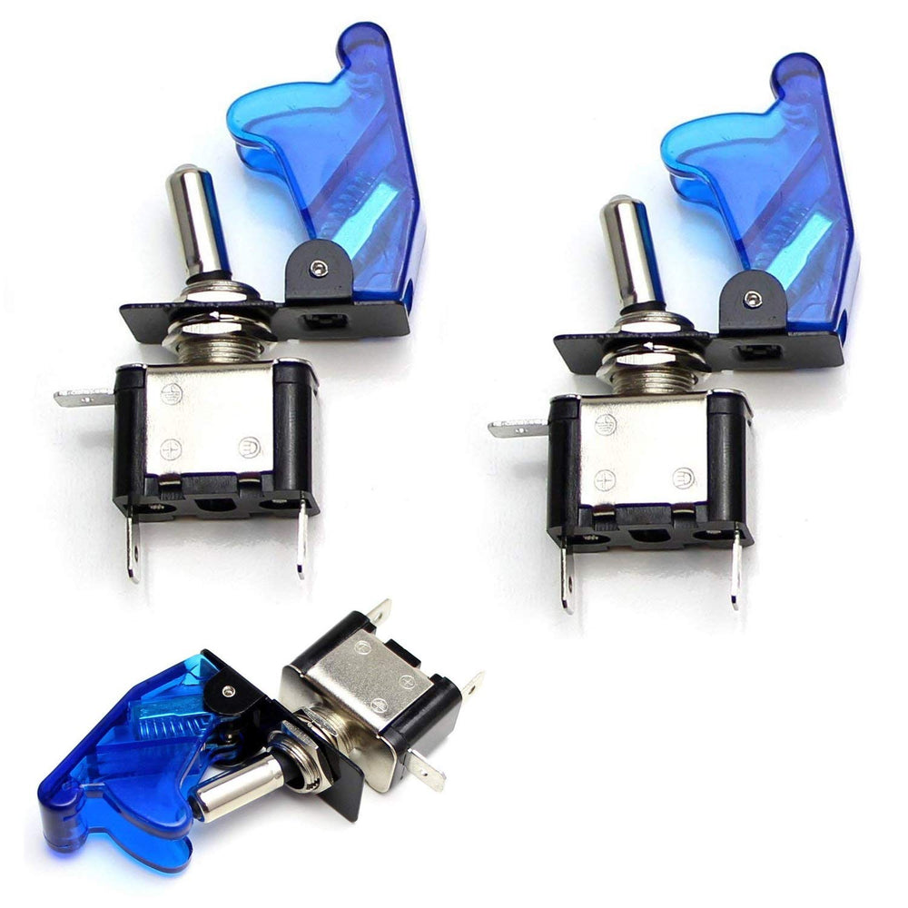 Aircraft Style 12V/20A Blue or Red LED Light Up On/OFF SPST Toggle Switch  w/ Safety Flip Cover For Fog Daytime Running Light, Lightbar, etc