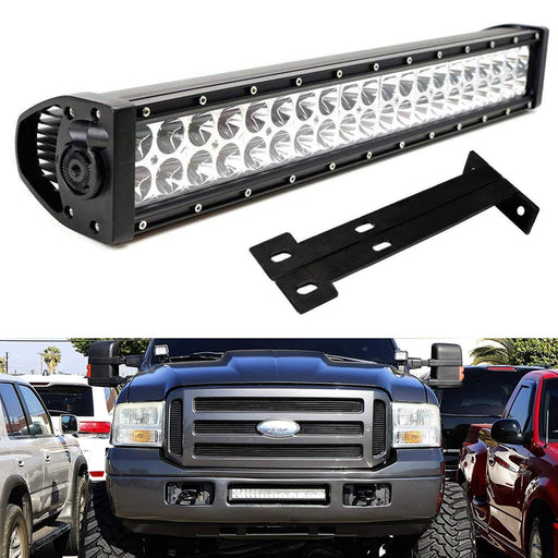 "Lower Grille 20"" LED Light Bar Kit For 1999-2007 Ford F250 F350 Super Duty, Includes (1) 120W High Power LED Lightbar, Lower Bumper Opening Mounting Brackets & On/Off Switch Wiring Kit-iJDMTOY"