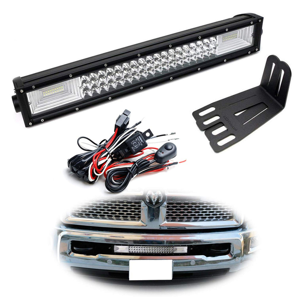 "Lower Grille Mount 21"" LED Light Bar Kit For 2009-18 Dodge RAM 2500 3500 HD, Includes (1) Triple-Row High Power LED Lightbar, Lower Bumper Opening Mounting Brackets & Switch Wiring Kit-iJDMTOY"