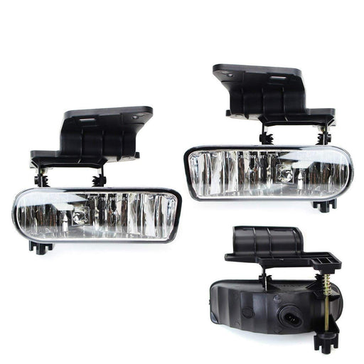 Clear Lens Fog Lights Foglamp Kit with 880 Halogen or White LED Bulbs w/ Mounting Brackets For 1999-2002 Chevrolet Silverado 1500 2500, 2000-2001 3500, 2000-2006 Suburban Tahoe-iJDMTOY