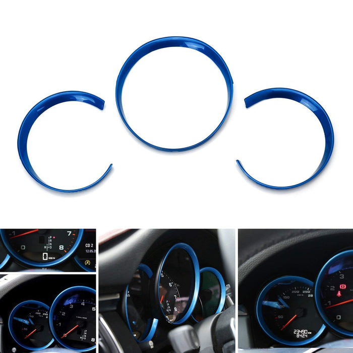 3pc Glossy Blue Red or Silver Dashboard Gauge Surrounding Ring Decoration  Trim Kit For 2014-up Porsche Macan