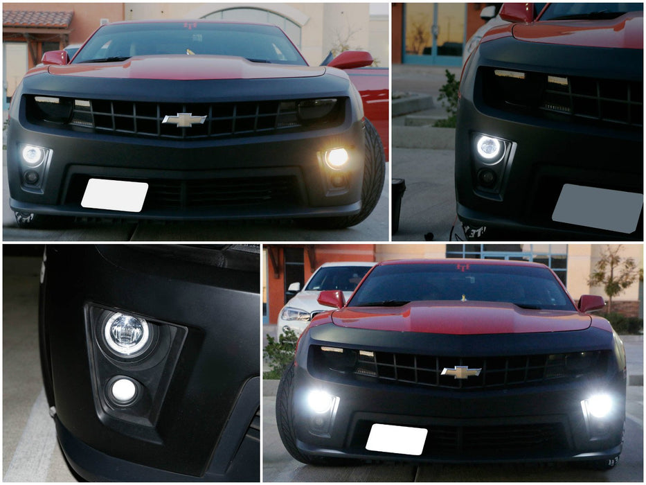Xenon White LED Daytime Running Light Fog Lamps For 10-13 Chevy Camaro Pre-LCI, (6) CREE XP-G LED Lights as Halo Ring DRL & (1) 10W CREE XB-D LED Light as Fog Light-iJDMTOY