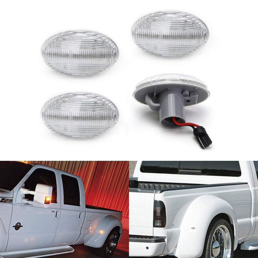 Amber/Red Full LED Trunk Bed Marker Lights Set For 1999-2010 Ford F350 F450 Super Duty Truck Double Wheel Side Fenders, Powered by Total 48 LED-iJDMTOY