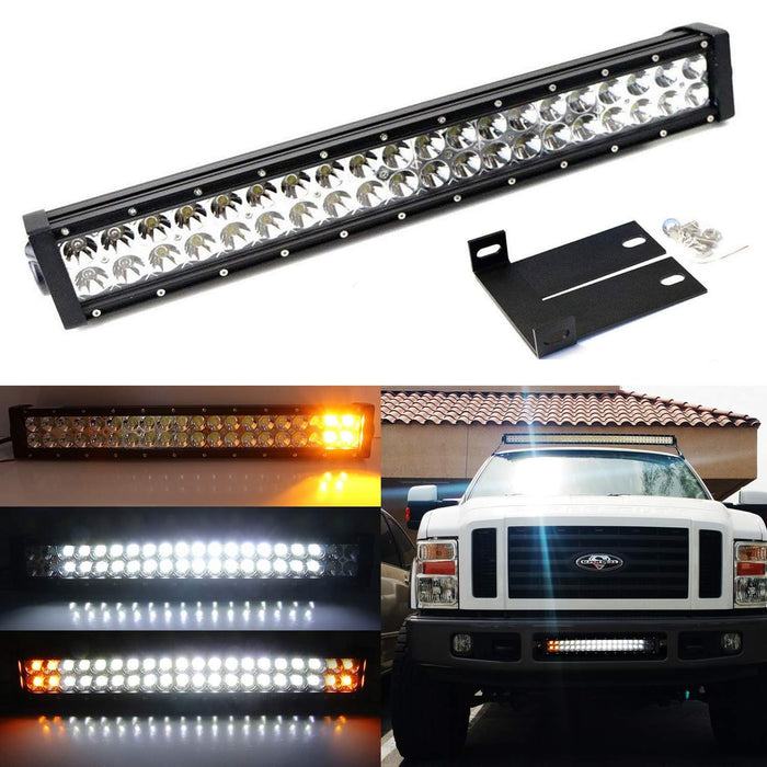 "Lower Bumper 20"" 120W LED Light Bar Kit For 2008-10 Ford F250 F350 Super Duty, Includes (1) Amber LED Strobe LED Lightbar, Lower Bumper Grille Mount Brackets & Relay Wiring Dual On/Off Switch-iJDMTOY"