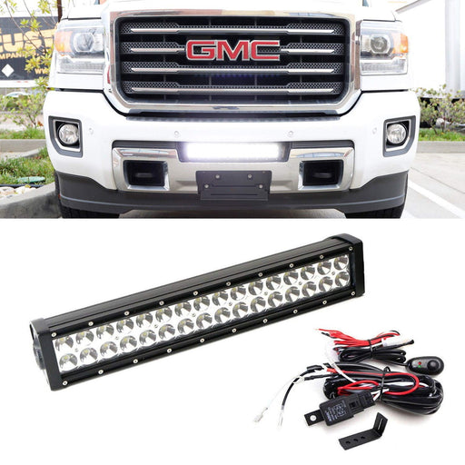 Lower Grille Mount LED Light Bar Kit For 2015-up GMC Sierra 2500 3500 HD, Includes (1) 96W High Power LED Lightbar, Lower Bumper Opening Mounting Brackets & On/Off Switch Wiring Kit-iJDMTOY