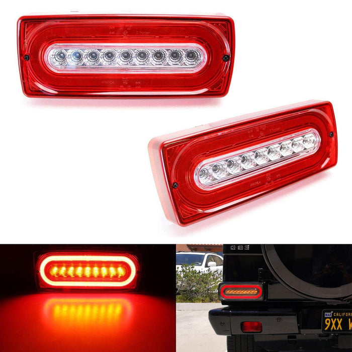 Red or Smoked Lens Laser Style Full LED Turn Signal Light Tail Lamps For  1999-18 Mercedes W463 G-Class G500 G550 G55 G63 AMG (2019 G Design)