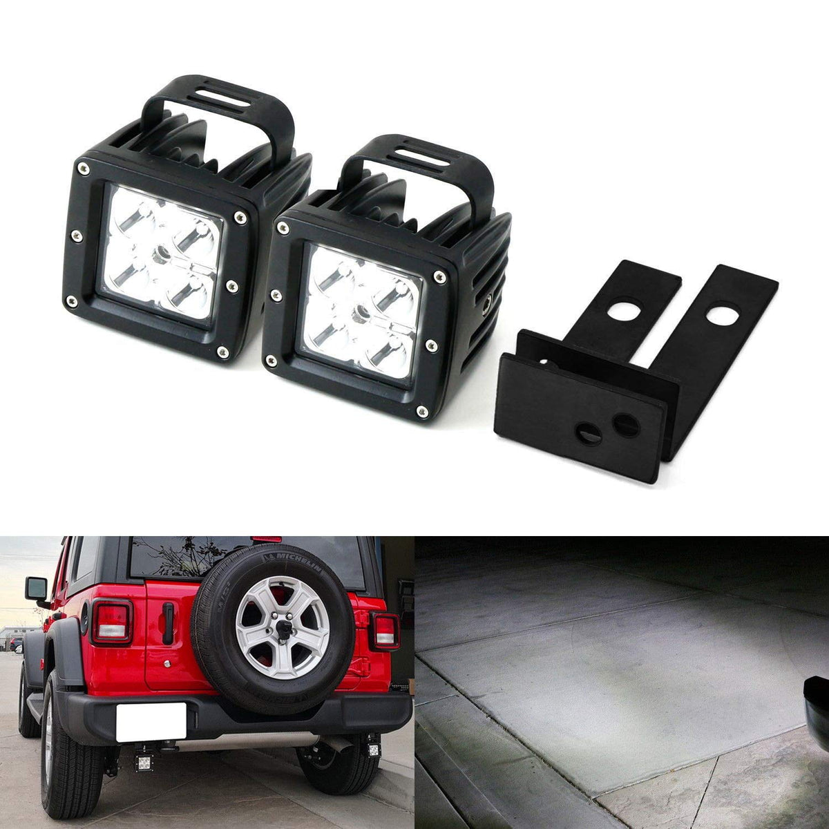 rear bumper searchlight reverse led pod light kit for 2018 up jeep wrangler jl, includes (2) 20w cree led pods, mounting brackets \u0026 wiring harness  best jeep led tail lights 2019 review