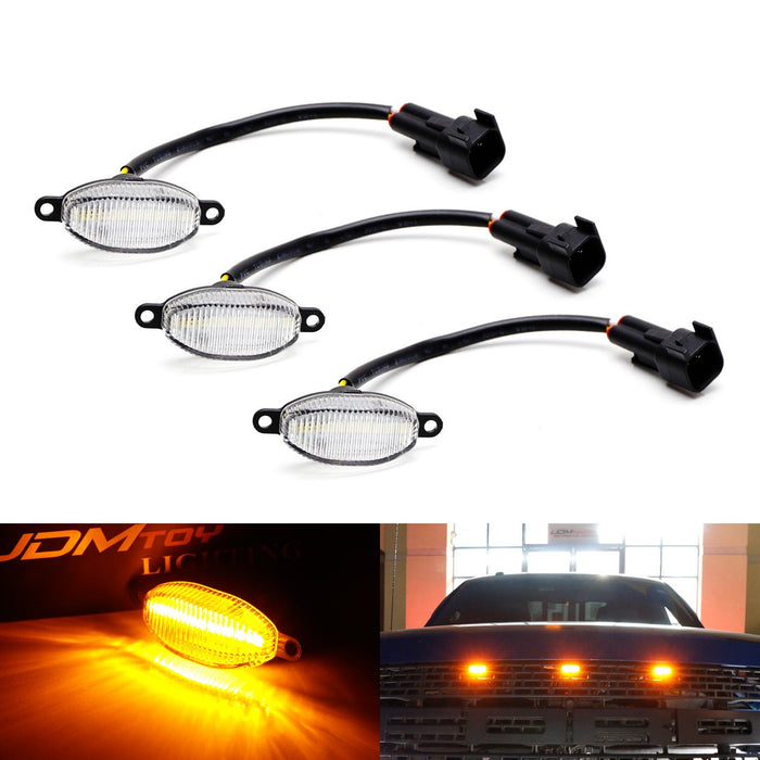 (3) Clear or Smoked Lens Amber or Xenon White LED Grille Running Lights For 10-14 & 17-up Ford Raptor (Powered by 36 Pieces of SMD LED Lights)-iJDMTOY