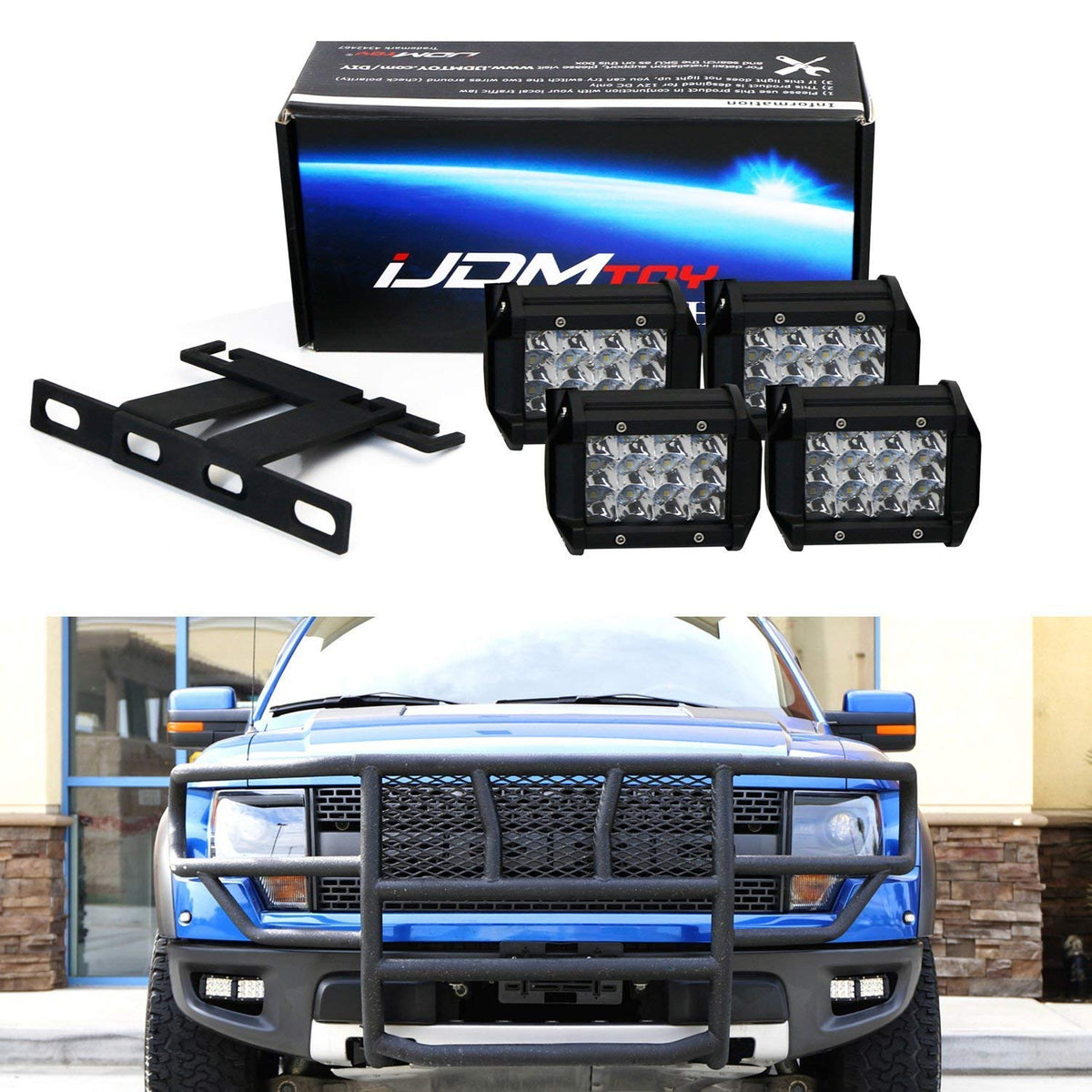 NSLUMO White LED Front Grille Daytime Lights Assembly Direct Fit for OEM Grill Markers Smoke Lens 3pcs Front Grille Led Running Lights for 2010 2011 2012 2013 2014 Ford F150 Raptor