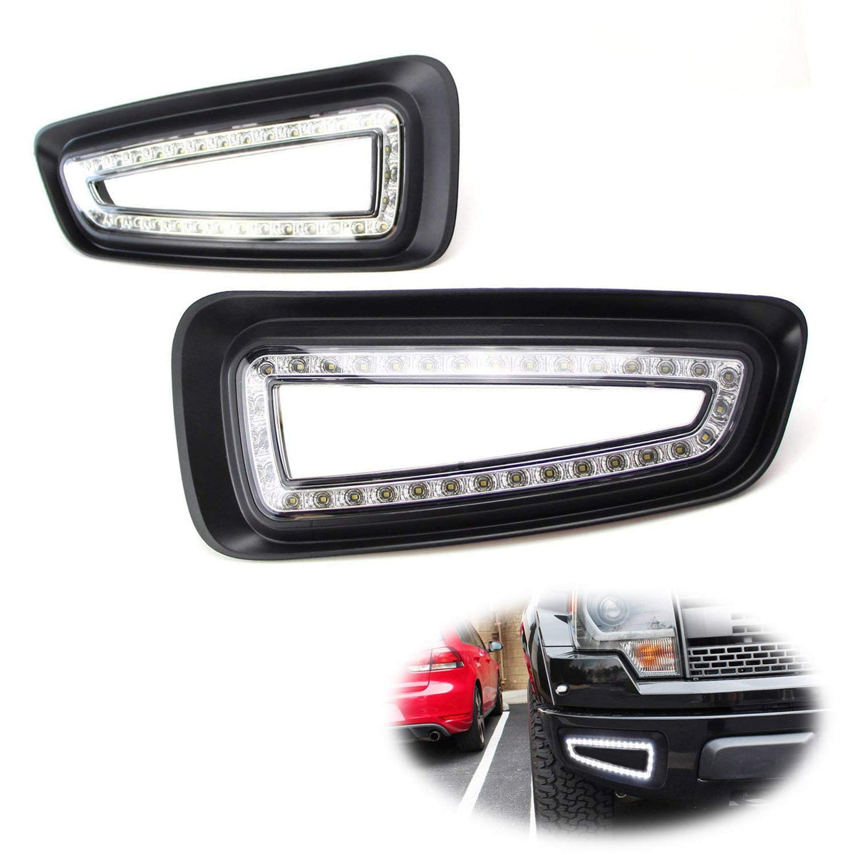 Lower Bumper White LED Daytime Running Lights For 10-14 Ford Raptor SVT,  Direct Fit on Bumper Opening, Powered by (66) 15W SMD LED Lights