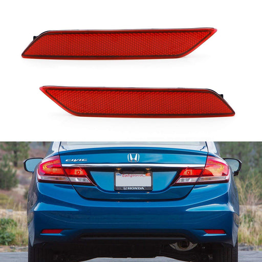 Clear, Red or Smoked Lens Rear Bumper Reflector Lenses For 2013-2015 Honda Civic Sedan 9th Gen, OE-Spec LH RH Assembly-iJDMTOY