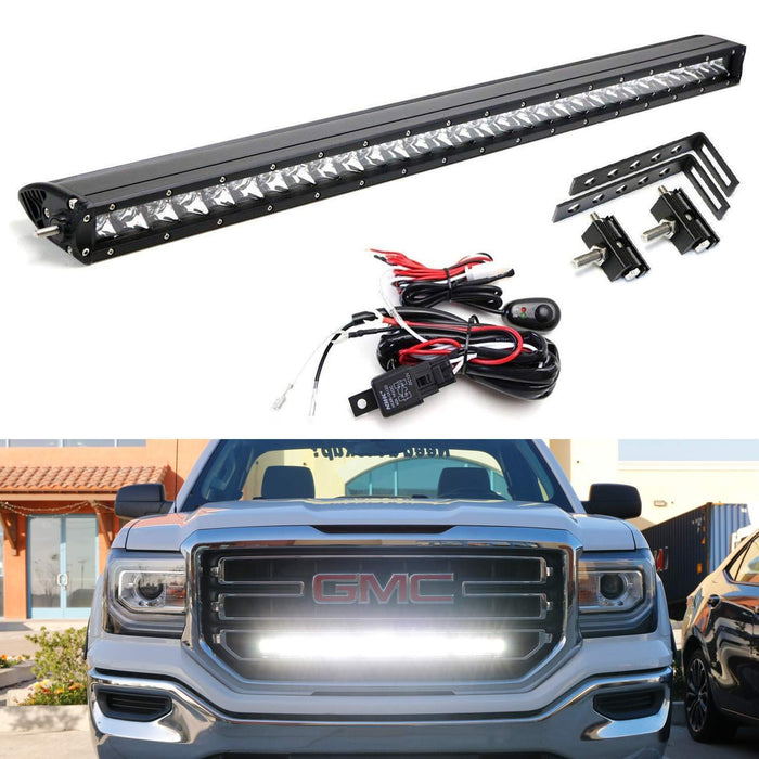 Behind Grille Mount 30 Led Light Bar Kit For 2014 18 Gmc Sierra 1500 2500 3500 Hd 1 150w Cree Led Lightbar Mesh Mounting Brackets Wiring Switch
