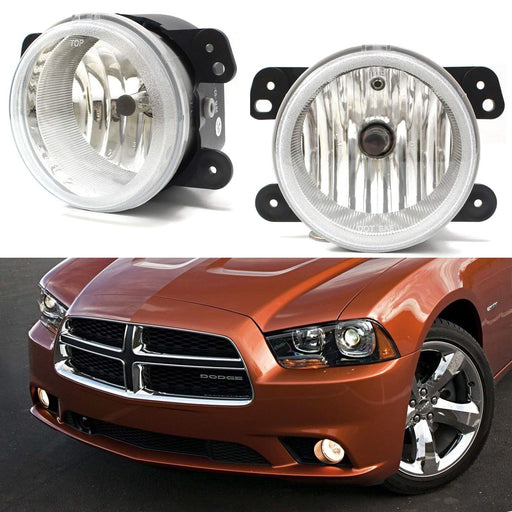 Complete Set Fog Lights Foglamps with H10 9145 Halogen Bulbs For Jeep Wrangler, Grand Cherokee, Dodge Charger Journey Magnum, Chrysler 300, etc-iJDMTOY