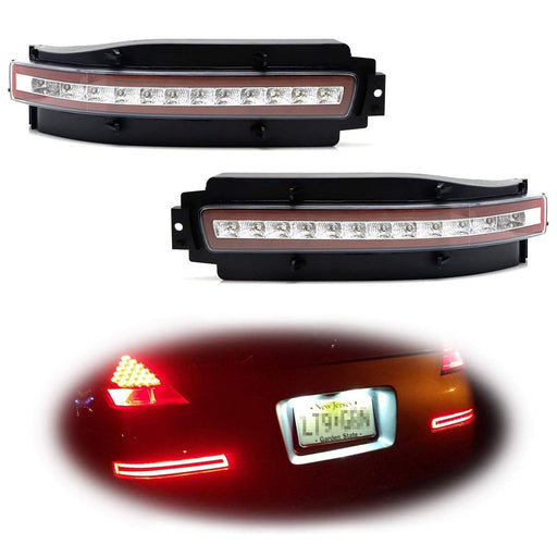 Clear or Smoked Lens All-In-One LED Tail Light Assembly For 2003-2009 Nissan 350z, Functions as LED Turn Signal Lamps, Backup Reverse Light & Brake Light-iJDMTOY