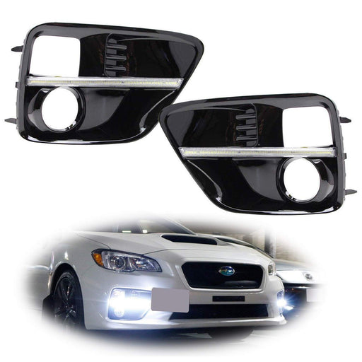 Xenon White or Switchback LED Daytime Running Lights For 2015-2017 Subaru WRX/STi w/ JDM Style Piano Black Finish Fog Lamp Bezels, Xenon White LED as DRL & Amber Yellow LED as Turn Signals-iJDMTOY