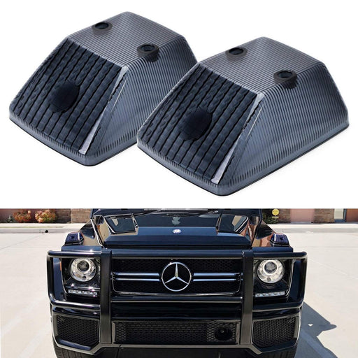 Gloss Black Front Turn Signal Lamp Lenses For 1986-18 Mercedes W463 G-Class G500 G550 G55 G63 G65, (2) Smoked OE-Spec Replacement-iJDMTOY